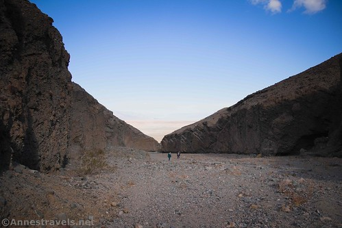 Standing at the mouth of Slot 2 and looking down Sidewinder Canyon, you can just barely see the opening of Slot 1 on the right of the photo.  Death Valley National Park, California