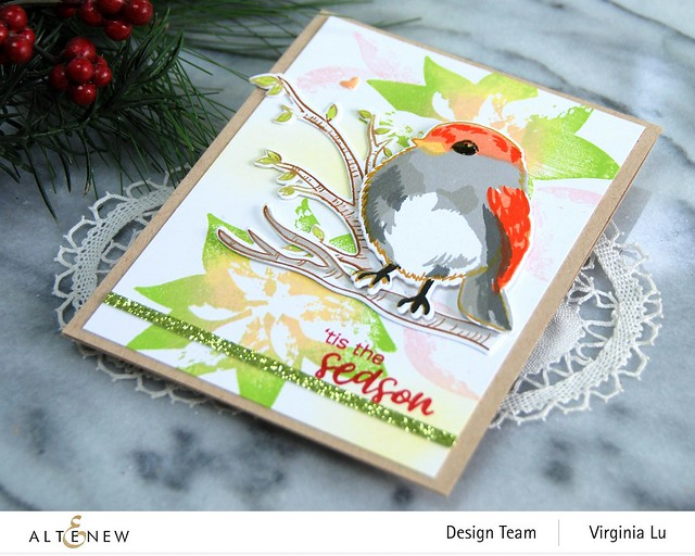 Altenew-DryBrush Poinsettia Stamp Set-Bird of The Woods Stamp & Die Bundle-Forest Canopy Glitter CardStock-002