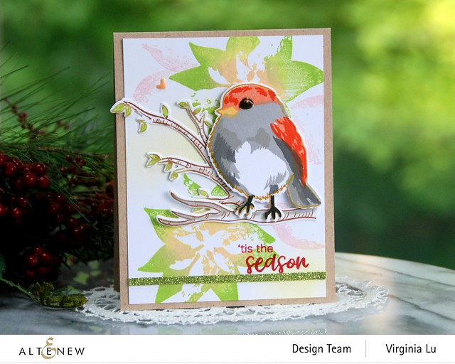 Altenew-DryBrush Poinsettia Stamp Set-Bird of The Woods Stamp & Die Bundle-Forest Canopy Glitter CardStock-001