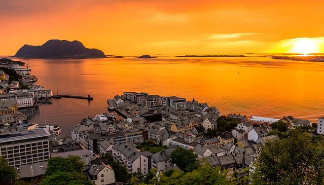 Sunset at midnight in Alesund Norway