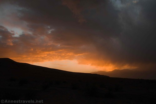 Sunset in the storm over Sidewinder Canyon, Death Valley National Park, California