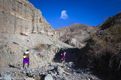 Hiking in the upper, less-visited portion of Sidewinder Canyon, Death Valley National Park, California
