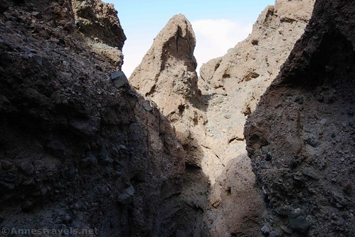 Interesting formations over Slot 5 off of Sidewinder Canyon, Death Valley National Park, California
