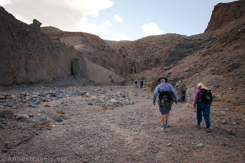 Hiking up Slot 4 in Sidewinder Canyon, Death Valley National Park, California