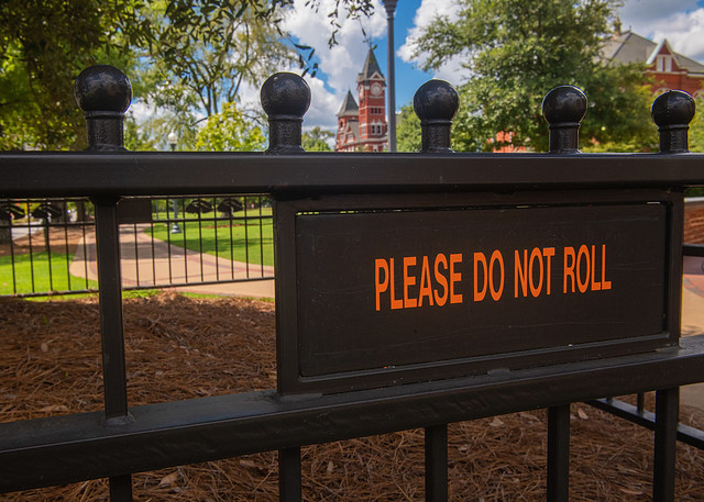 """Sign stating, """"Do Not Roll."""""""