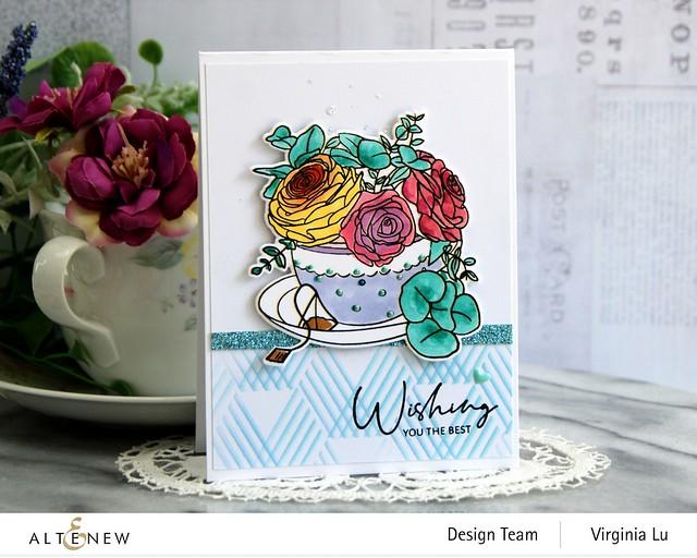 Altenew-Rose Tea Stamp -Rose Tea Die-Hexagon Illusions Stencil-Ocean Reflection Glitter Card Stock (2)