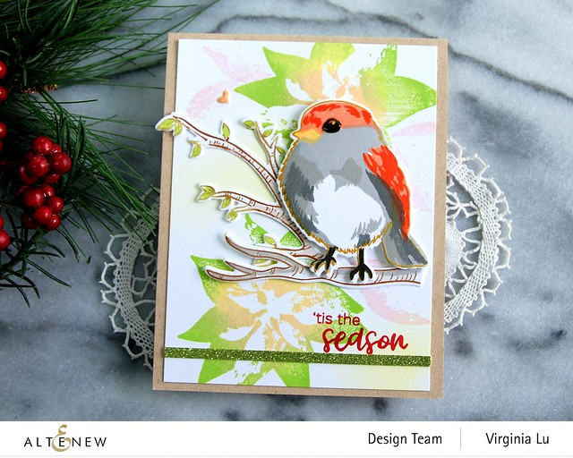 Altenew-DryBrush Poinsettia Stamp Set-Bird of The Woods Stamp & Die Bundle-Forest Canopy Glitter CardStock-003