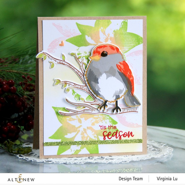 Altenew-DryBrush Poinsettia Stamp Set-Bird of The Woods Stamp & Die Bundle-Forest Canopy Glitter CardStock