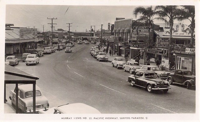 Pacific Highway, Surfers Paradise, Qld - 1950s