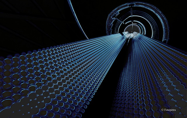 Stairwell with blue light