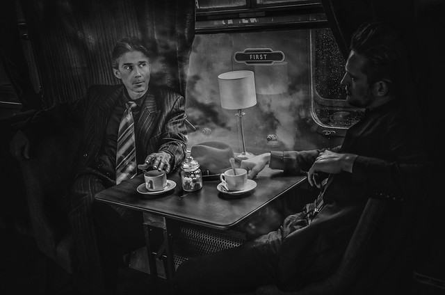 The Spy Game. Vintage shoot on steam train