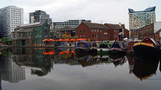 Birmingham reflective canal panorama