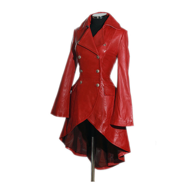 Valentine Red Ladies Designer Military Real Lambskin Leather Corset Tail Coat
