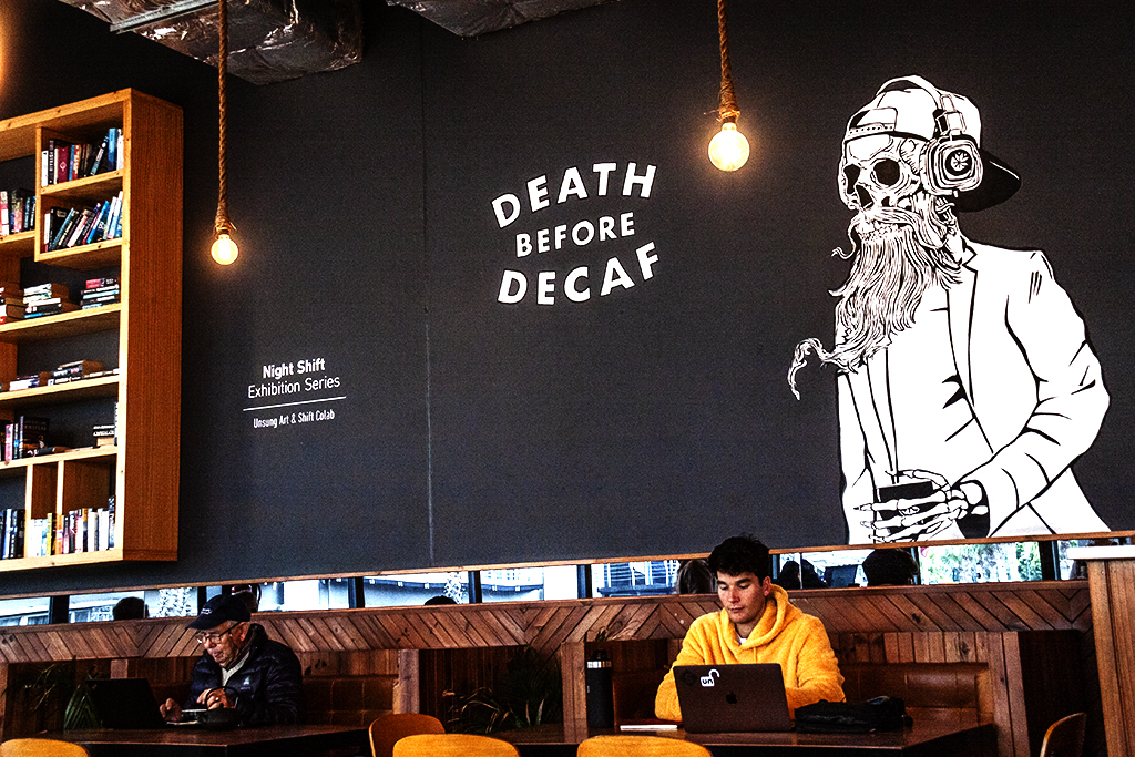 DEATH BEFORE DECAF at Shift Espresso Bar in Victoria and Alfred Waterfront on 8-26-21--Cape Town