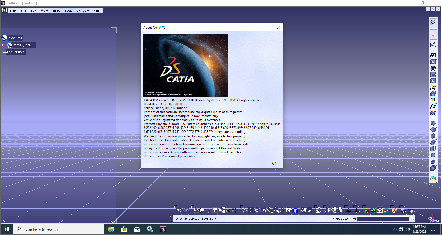 Working with DS CATIA P3 V5-6R2019 (V5R29) SP6 x64