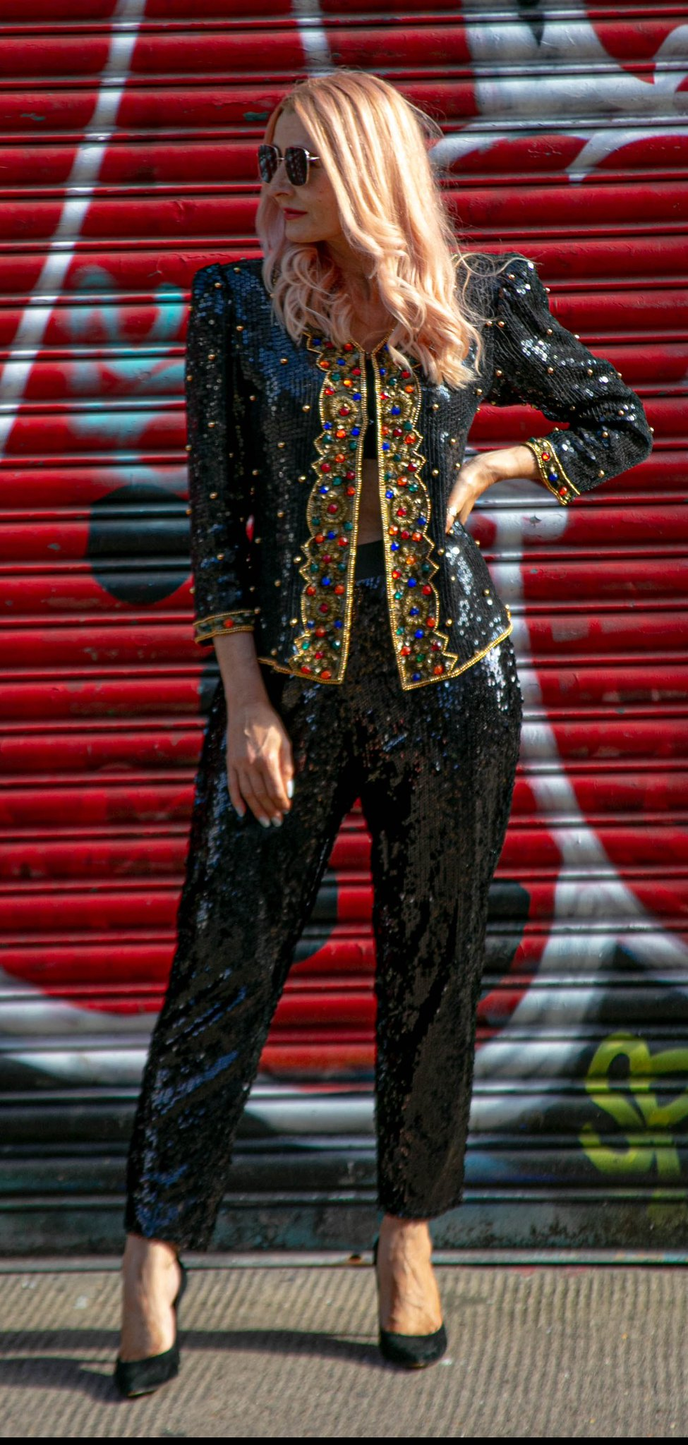 Evening wear: Vintage 1980s black sequinned and beaded jacket, baggy black sequinned trousers, black heels | Catherine Summers, Not Dressed As Lamb | Over 40 Style