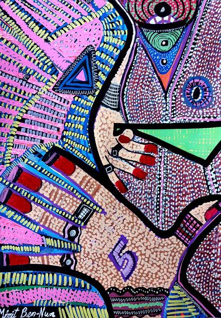 אומנות מודרנית ציירת ישראלית מירית בן נון אקריליק עפרונות צבעי מרקר