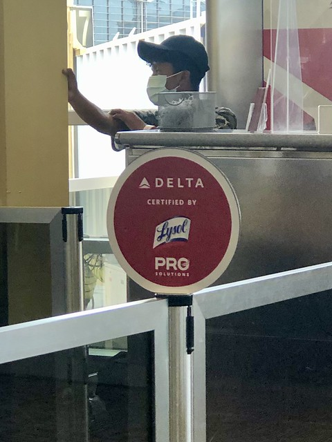 Delta, Certified by Lysol: sign at boarding area, National Airport, Arlington, Virginia