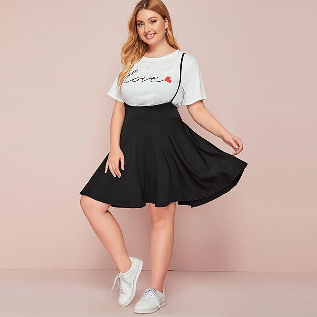 Fine plus high waist solid overall dress