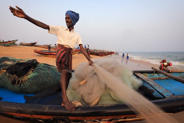 India, fisherman in Puri