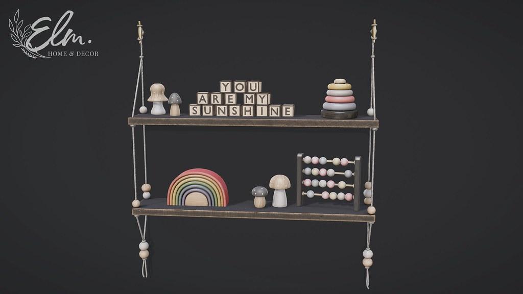 Elm. Myra Shelf and Decor Set