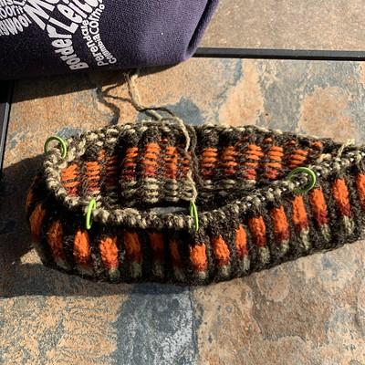 My other WIP is the Shetland Wool Week pattern, Da Crofter's Kep by Wilma Malcolmson.