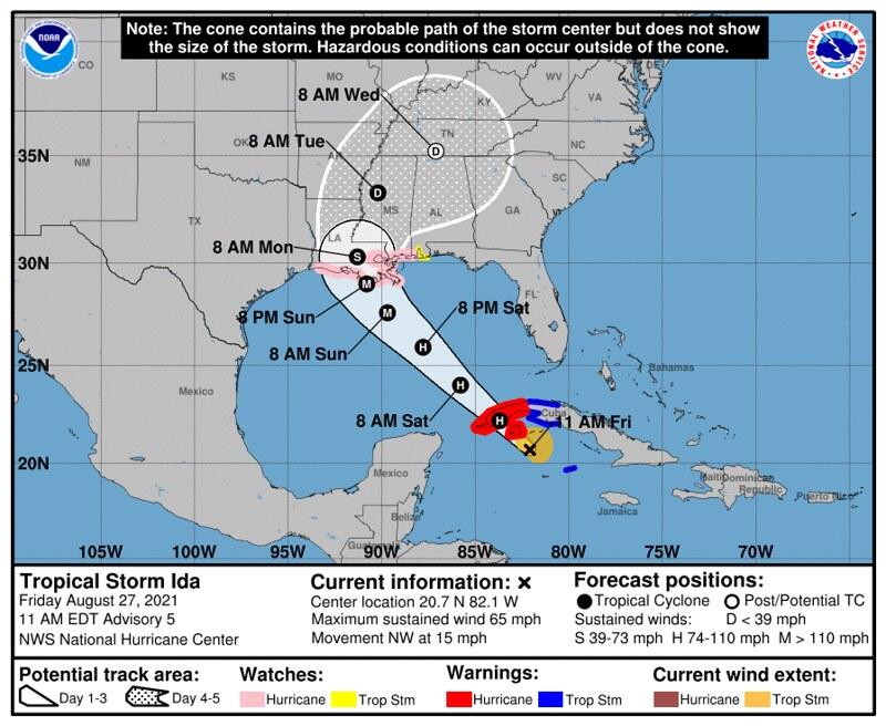 Hurricane Ida - Track - https://www.nhc.noaa.gov