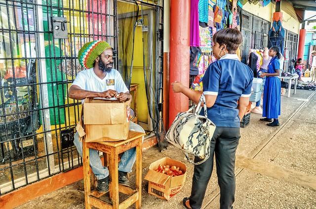 Candid Jamaican street - Market day, Spanish Town, Jamaica