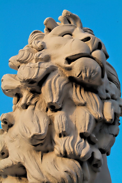 The South Bank Lion Statue, Westminster Bridge, London.
