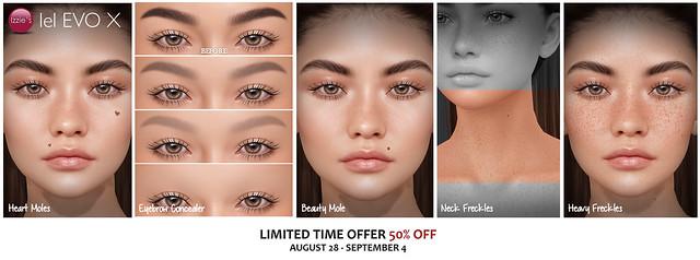 Evo X Heart Moles, Eyebrow Concealer, Beauty Mole, Neck Freckles & Heavy Freckles