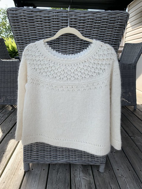 Off my needles is the Daintylion sweater that I test knit for Rebecca McKenzie (@ragingpurlwind)