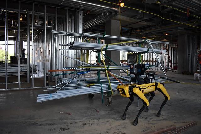 Auburn's robotic dog Mac on a construction site.