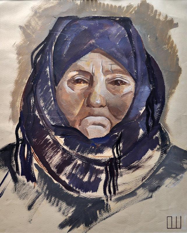 Ольга Шалабаєва «Портрет селянки», папір, темпера, 1972 р.