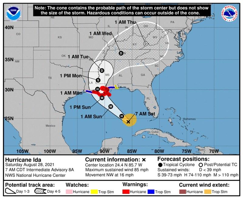 Hurricane Ida - Track Forecast - https://www.nhc.noaa.gov