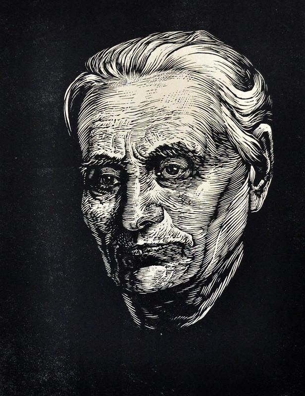 Василь Касіян «Портрет Олександри Сошенко-Мазюкевич», папір, лінорит, 1960 р.
