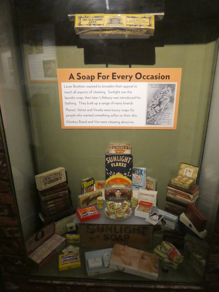 Port Sunlight soaps on display in the Port Sunlight Museum