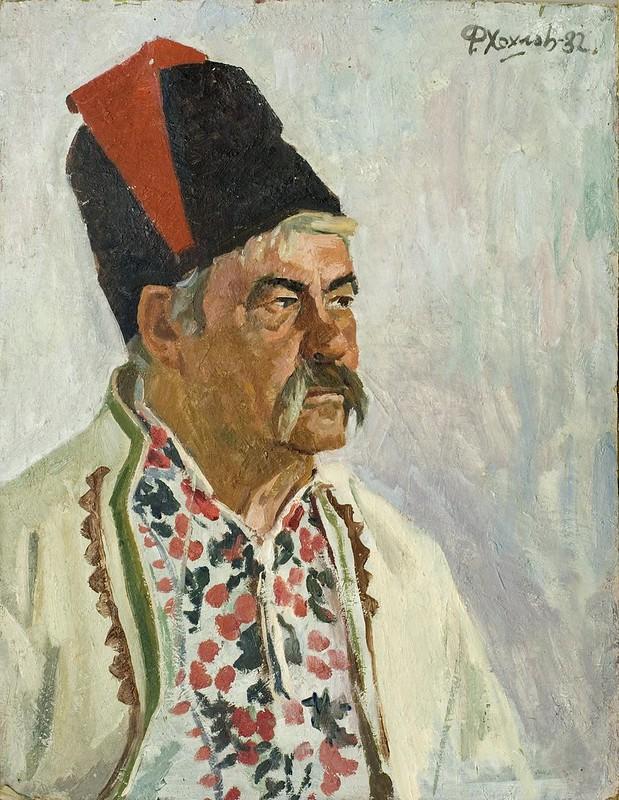 Федір Хохлов «Портрет чоловіка в козацькому одязі», картон, олія, 1982 р.