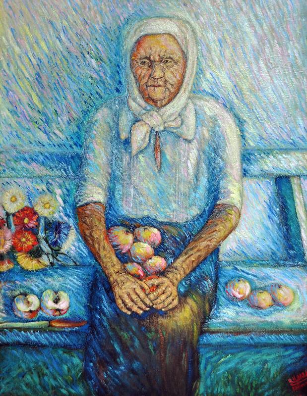 Микола Колядко «Моя бабуся», картон, олія, 1983 р.