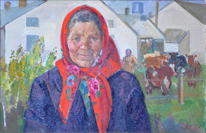 Олег Баумейстер «Телятниця», картон, олія, 1981 р.