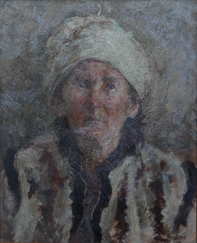 Лев Недосєко «Портрет літньої жінки» (бабуся), картон, олія, 2003 р.