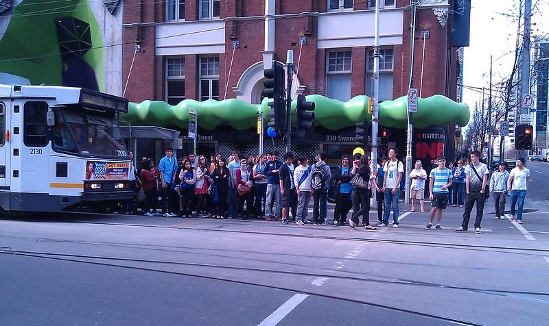 Swanston Street, southbound tram stop at Latrobe Street, August 2011
