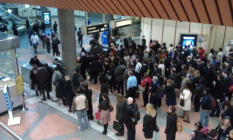 Queues at Flagstaff station, August 2011