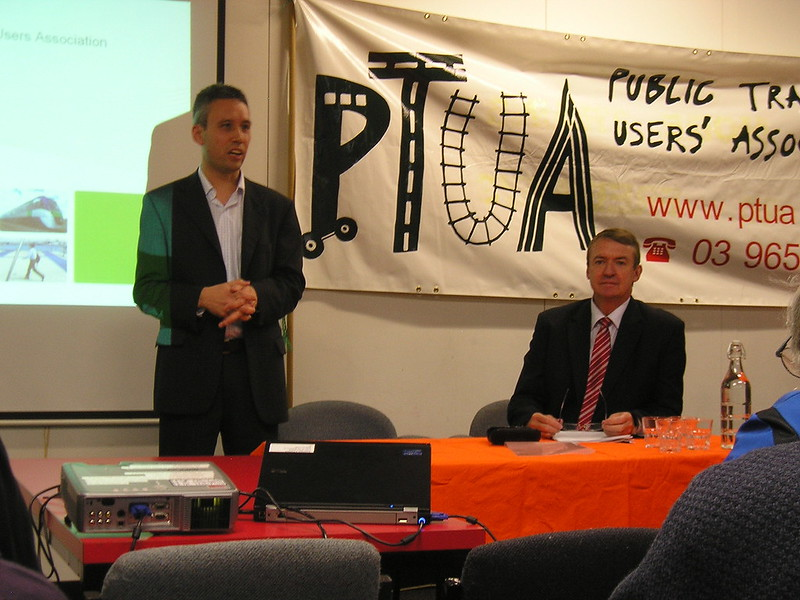 Transport Minister Terry Mulder at the PTUA 2011 Annual General Meeting (Photo by Margaret Pullar)