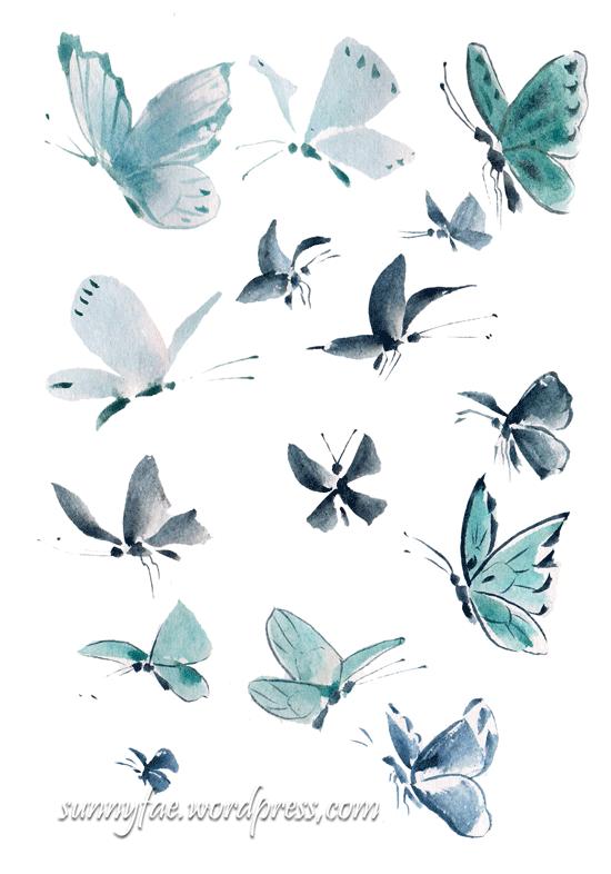 blue watercolour butterflies