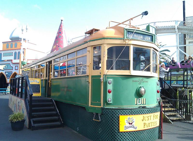 Melbourne tram 1011 at Luna Park, 2011