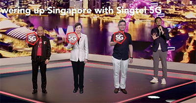 During the virtual event, Guest of Honour Josephine Teo, Minister of Communications and Information and IMDA's Chief Executive Lew Chuen Hong were 'teleported' into the venue via Singtel's 5G network - their high-resolution likeness were beamed from a separate location. The network's ultra-low latency meant that Minister Teo and Lew could 'interact' seamlessly with Yuen on the stage at Kallang Studios.