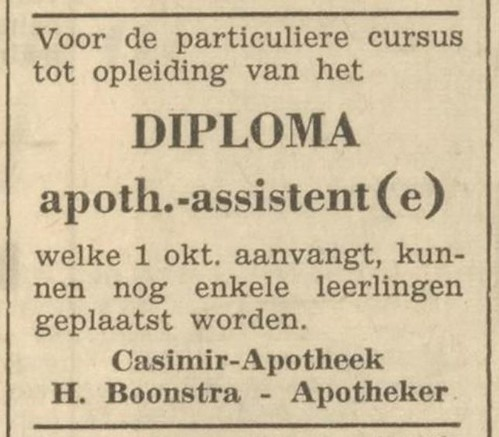Advertentie opleiding apothekersassistente