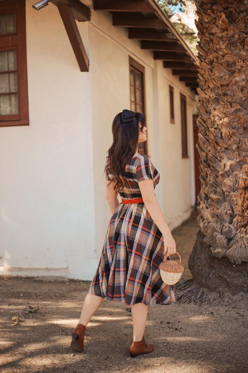Miss Candyfloss Pheobe-Amber Tartan Swing Dress