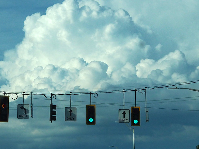 traffic lights and clouds