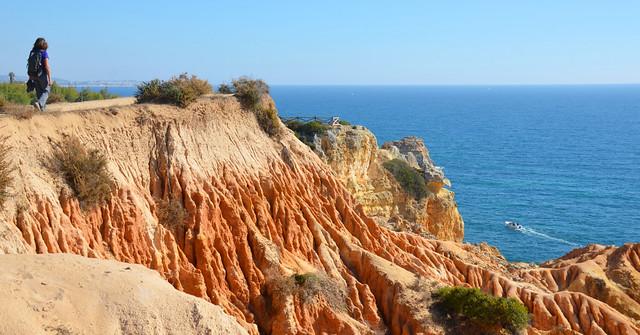 Honey-coloured rock formations, Seven Hanging Valleys route, November, Algarve, Portugal
